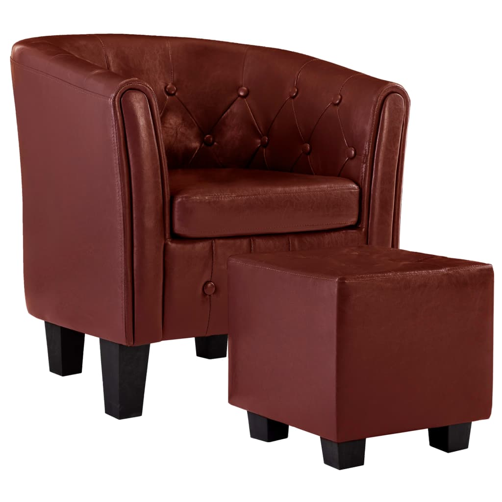 Tub Chair with Footstool Wine Red Faux Leather 2