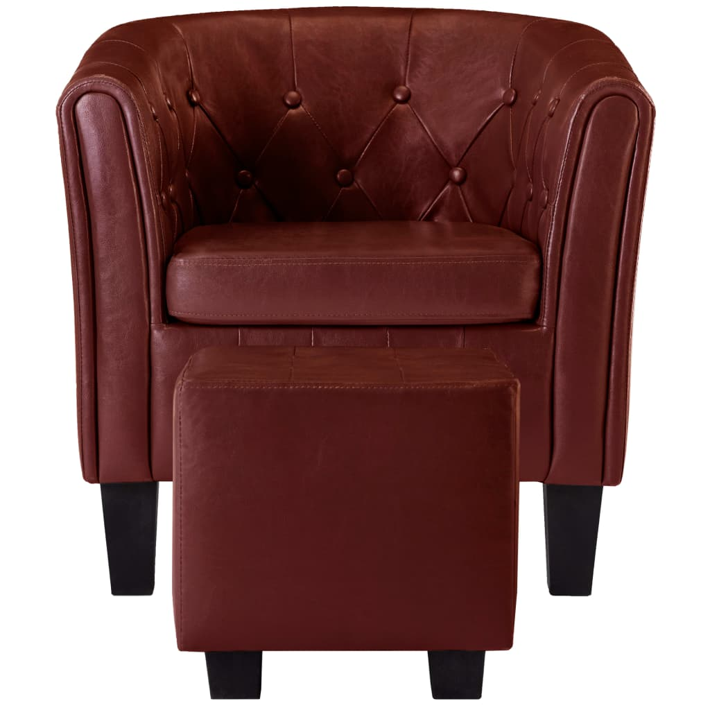 Tub Chair with Footstool Wine Red Faux Leather 4