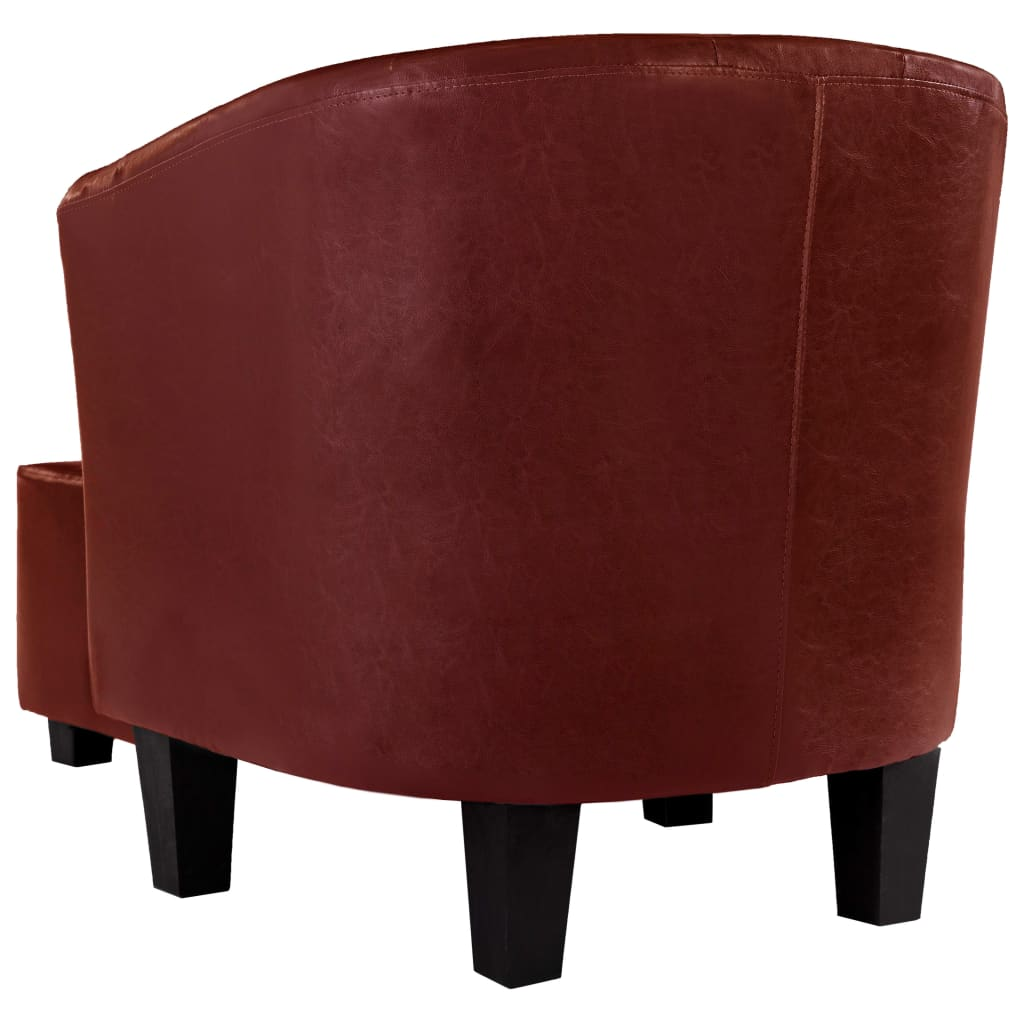 Tub Chair with Footstool Wine Red Faux Leather 5