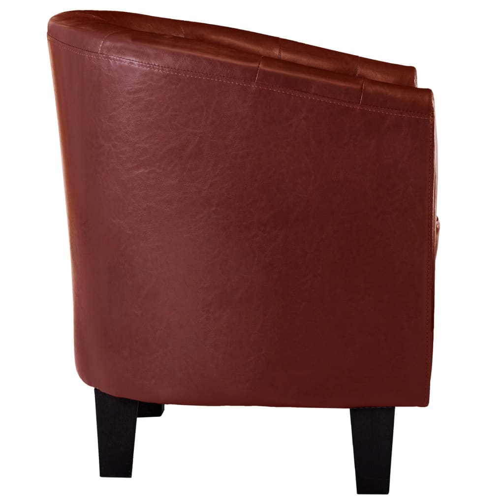 Tub Chair with Footstool Wine Red Faux Leather 6