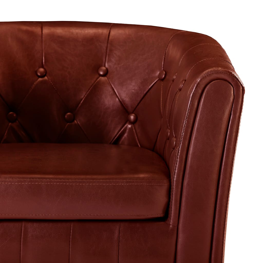 Tub Chair with Footstool Wine Red Faux Leather 7