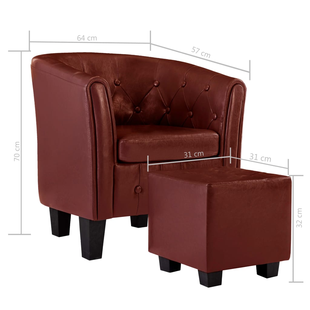 Tub Chair with Footstool Wine Red Faux Leather 8