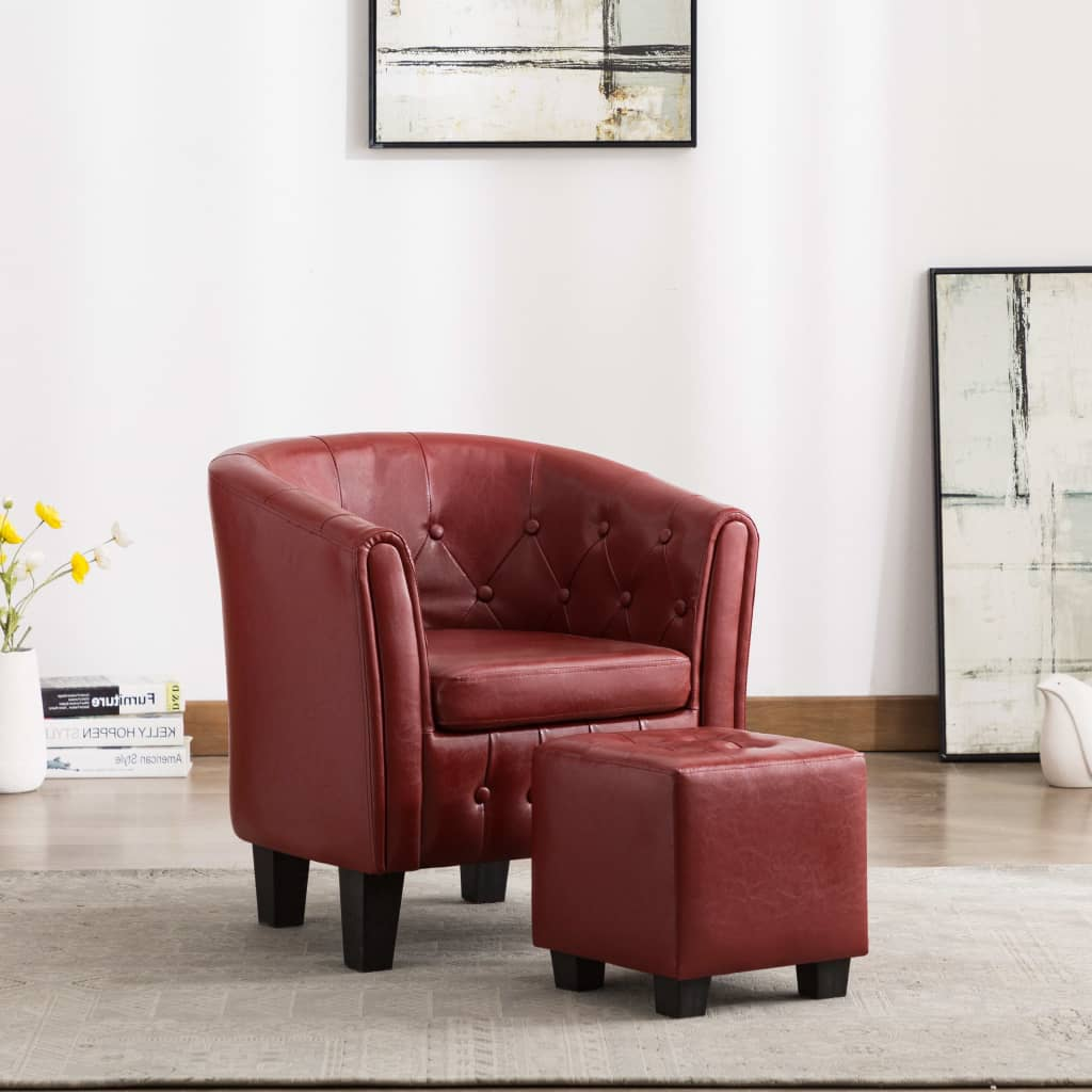Tub Chair with Footstool Wine Red Faux Leather 1