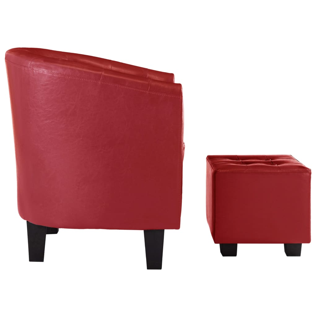 Tub Chair with Footstool Red Faux Leather 4