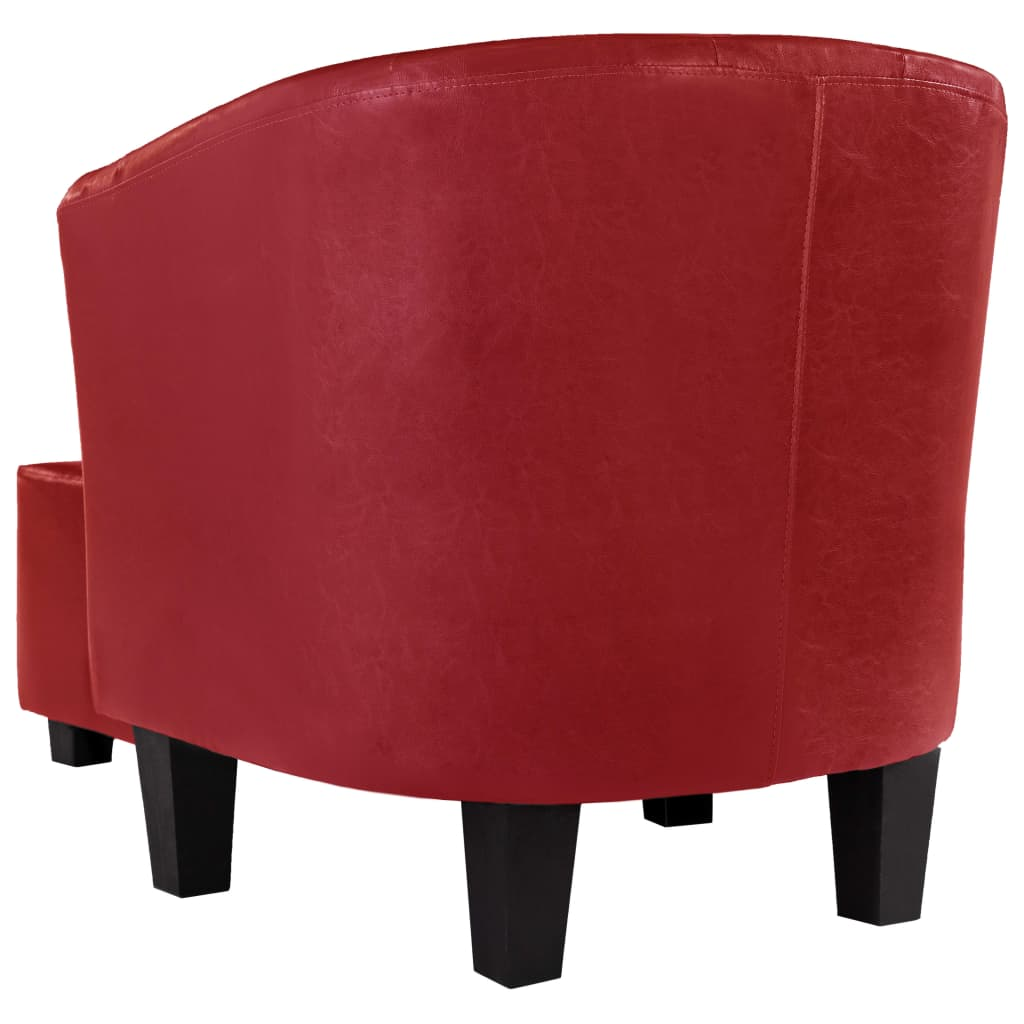 Tub Chair with Footstool Red Faux Leather 5