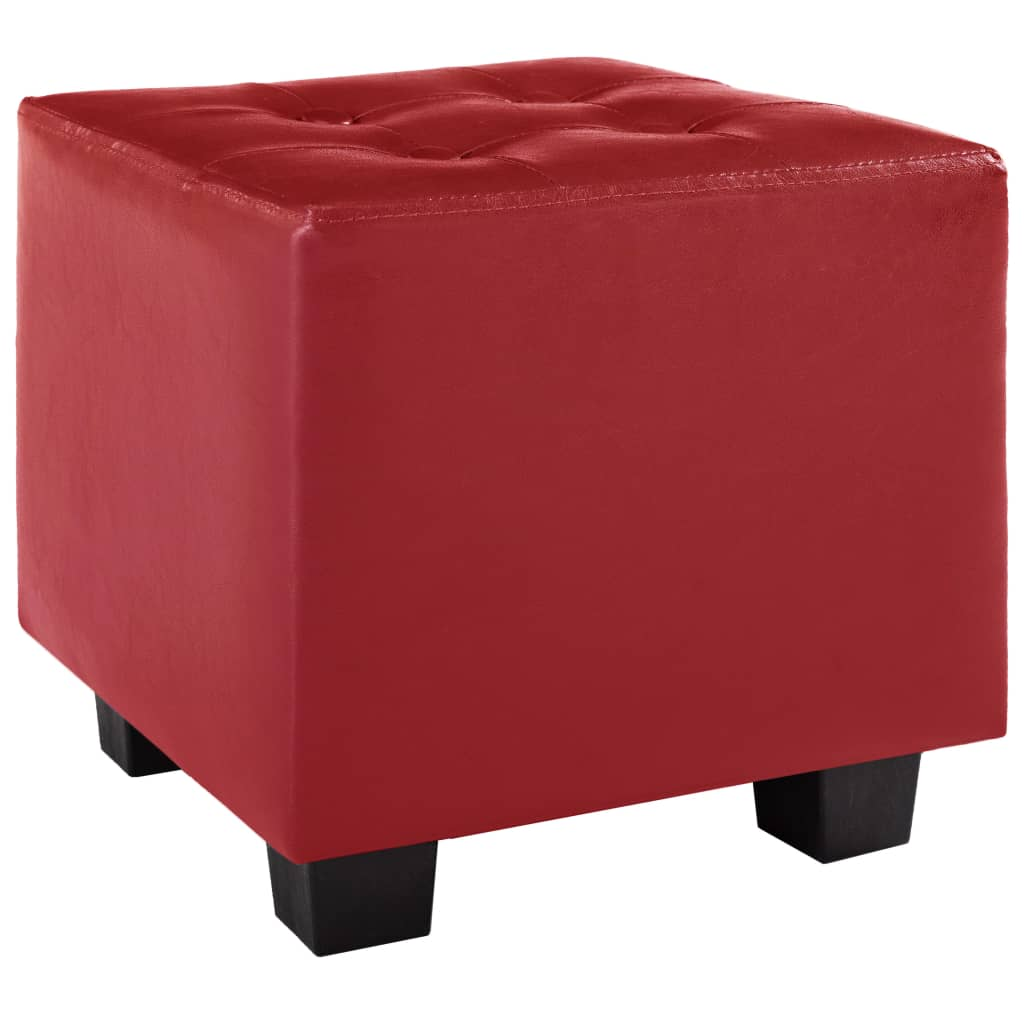 Tub Chair with Footstool Red Faux Leather 6