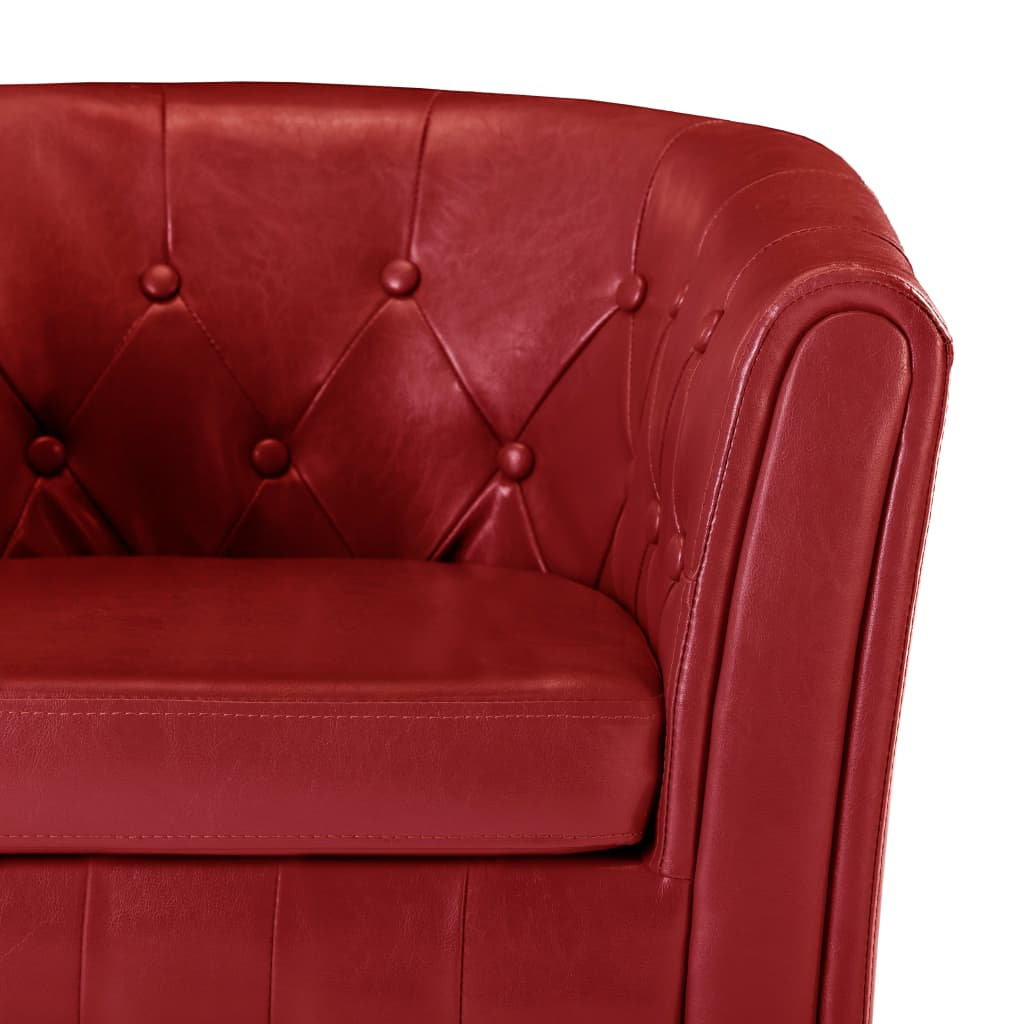 Tub Chair with Footstool Red Faux Leather 7