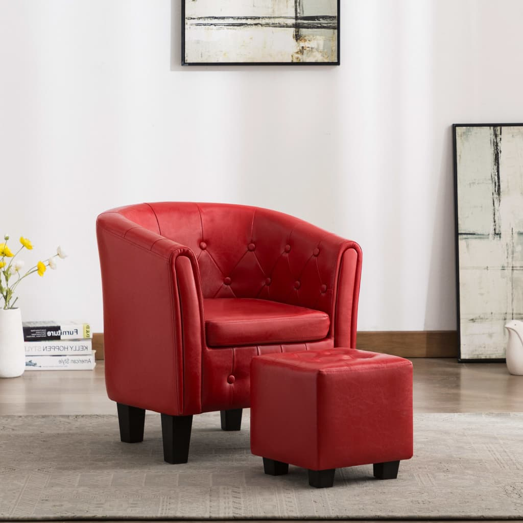 Tub Chair with Footstool Red Faux Leather 1