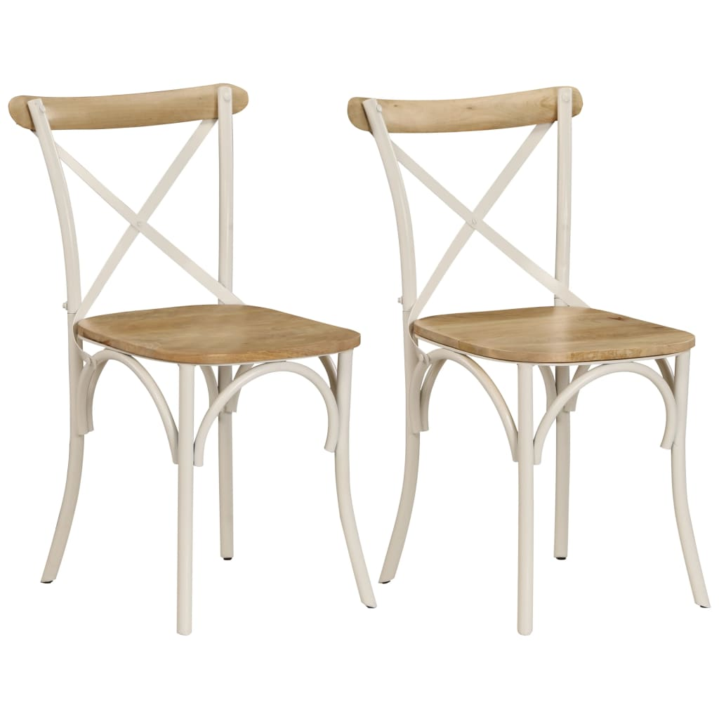 Cross Chairs 2 pcs White Solid Mango Wood