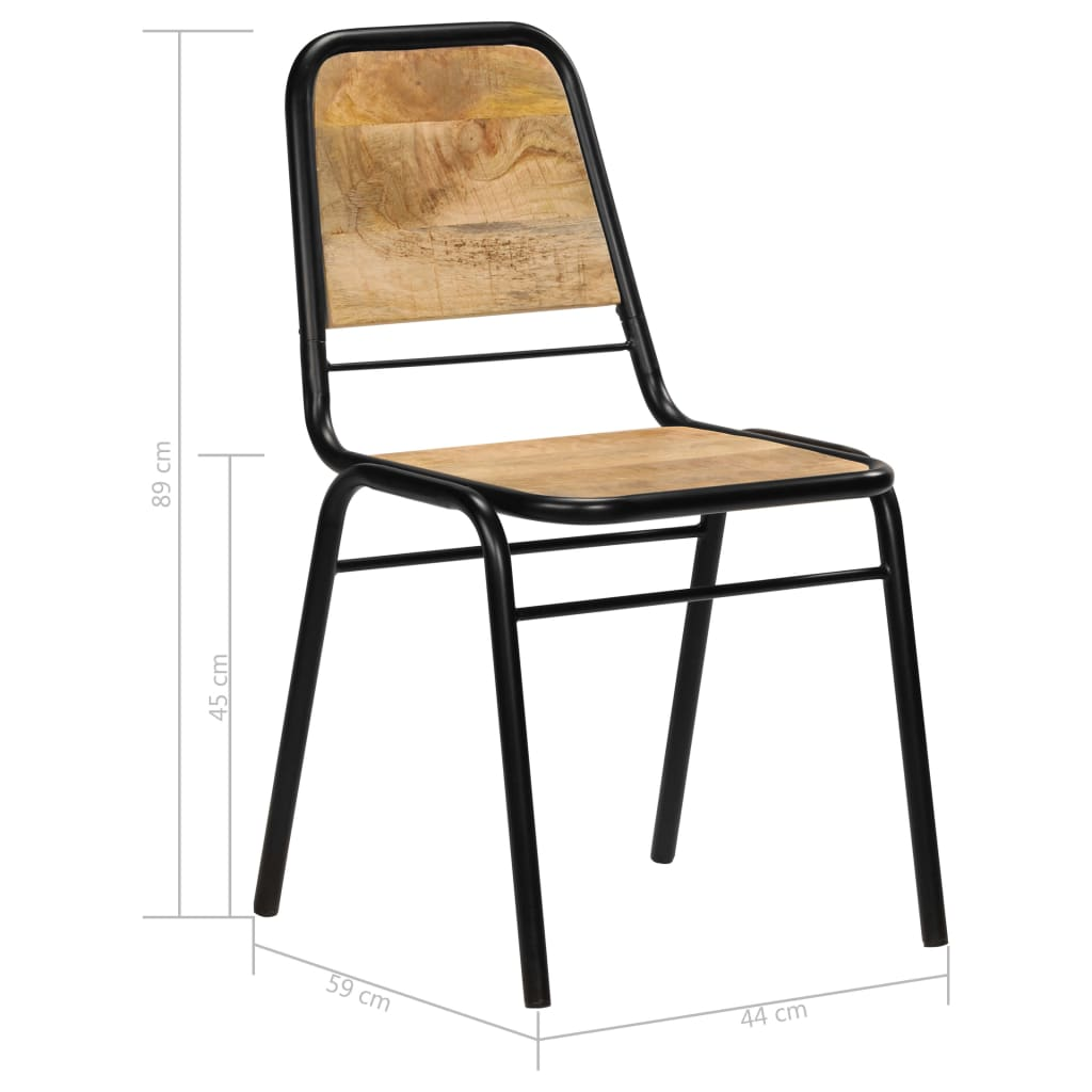 Dining Chairs 2 pcs Solid Mango Wood 10