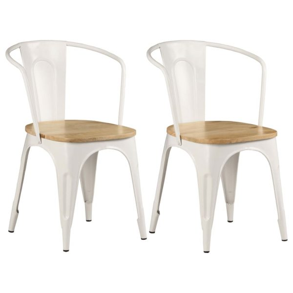 Dining Chairs 2 pcs White Solid Mango Wood 1