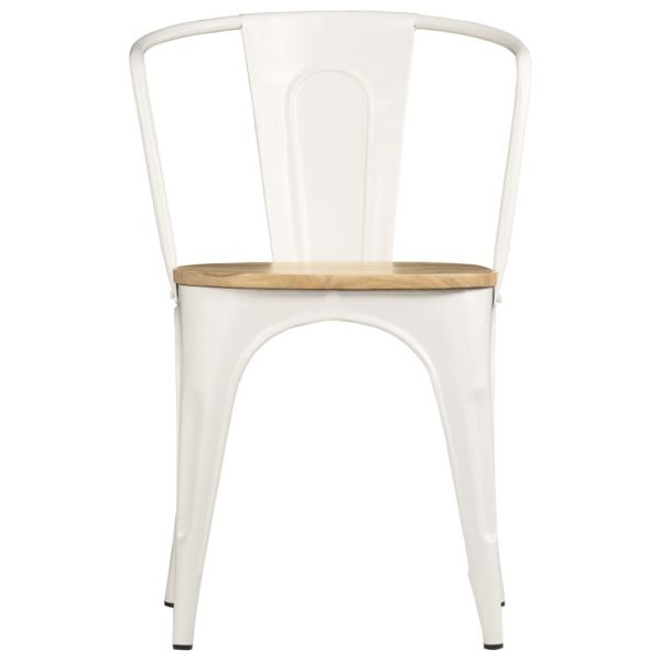 Dining Chairs 2 pcs White Solid Mango Wood 2
