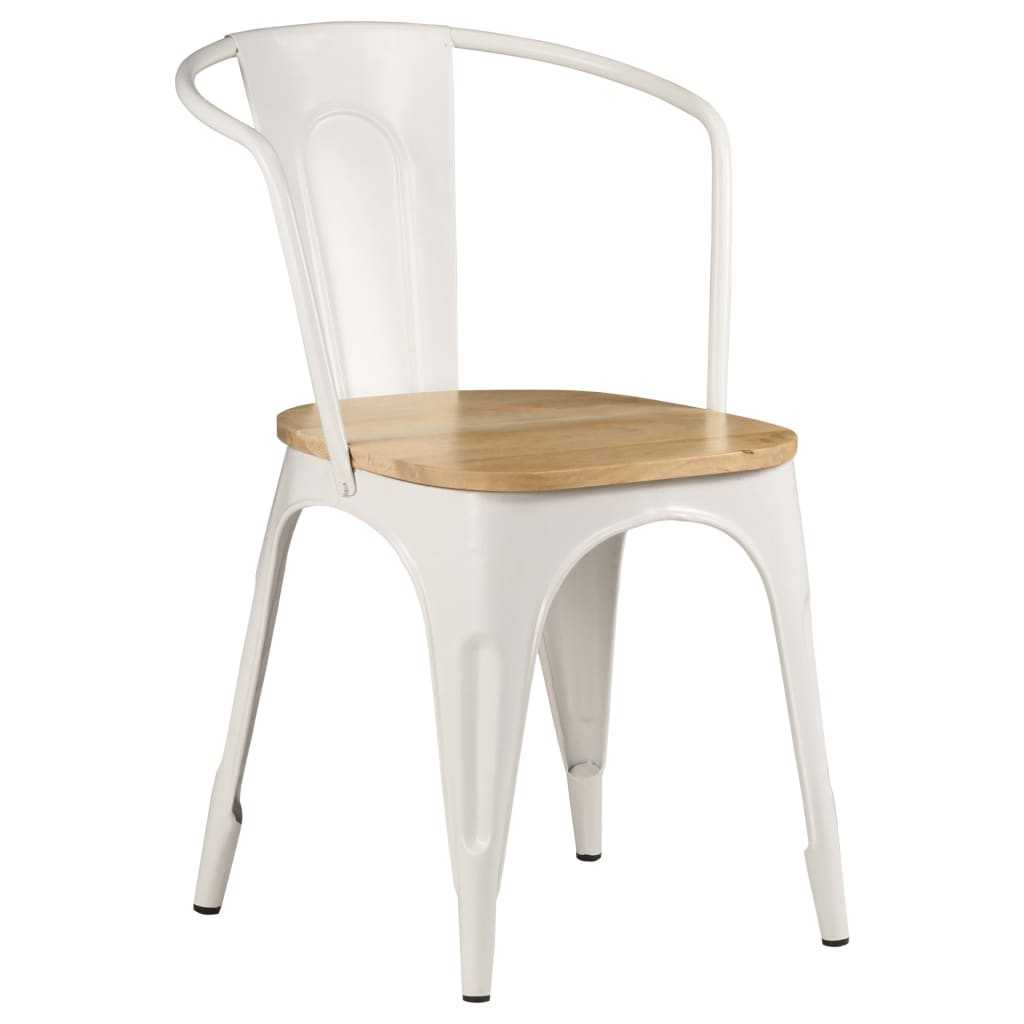 Dining Chairs 2 pcs White Solid Mango Wood 11