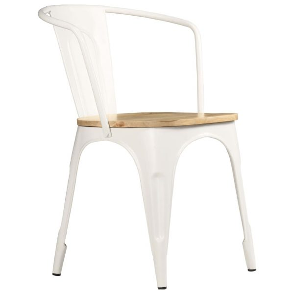 Dining Chairs 2 pcs White Solid Mango Wood 4