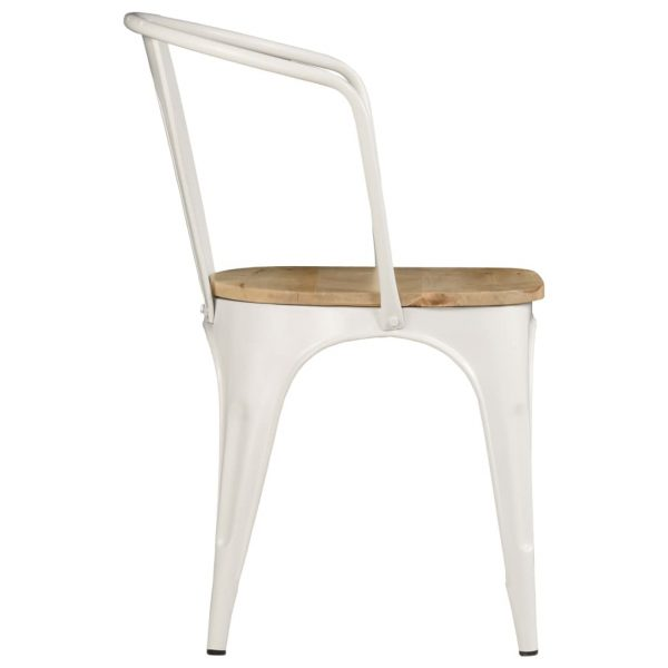 Dining Chairs 2 pcs White Solid Mango Wood 5
