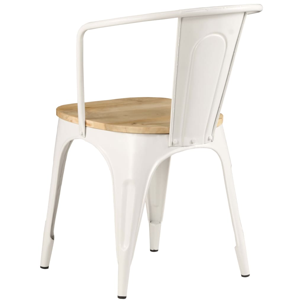 Dining Chairs 2 pcs White Solid Mango Wood 6