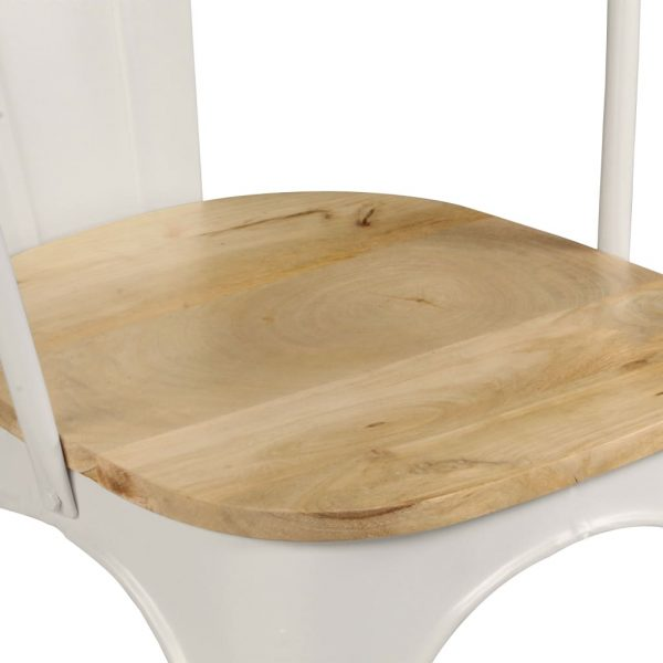 Dining Chairs 2 pcs White Solid Mango Wood 8