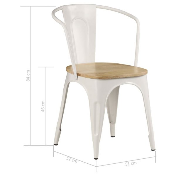 Dining Chairs 2 pcs White Solid Mango Wood 9