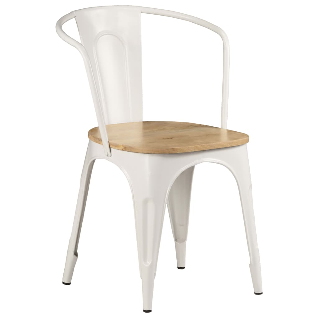 Dining Chairs 2 pcs White Solid Mango Wood 10