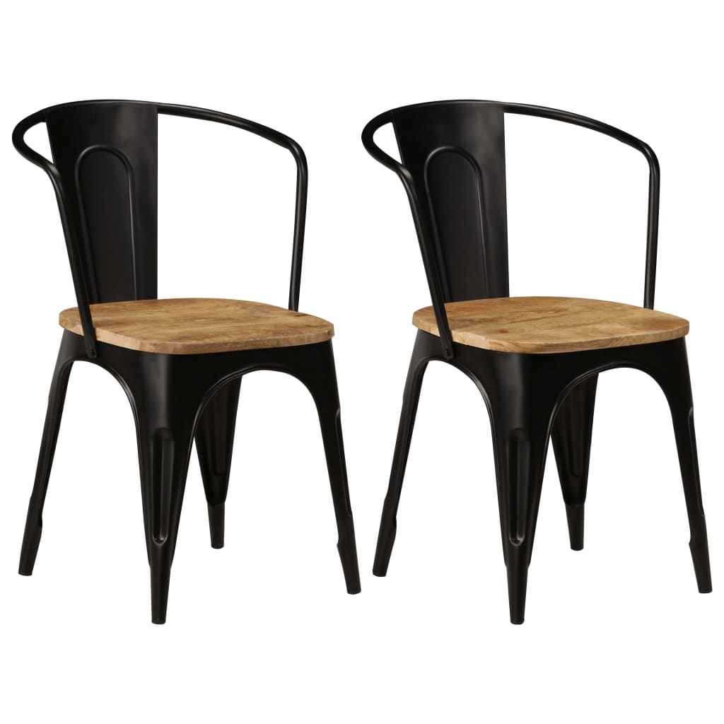 Dining Chairs 2 pcs Black Solid Mango Wood 1