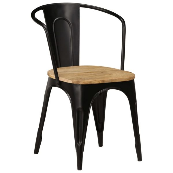Dining Chairs 2 pcs Black Solid Mango Wood 11