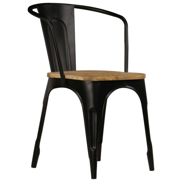 Dining Chairs 2 pcs Black Solid Mango Wood 3