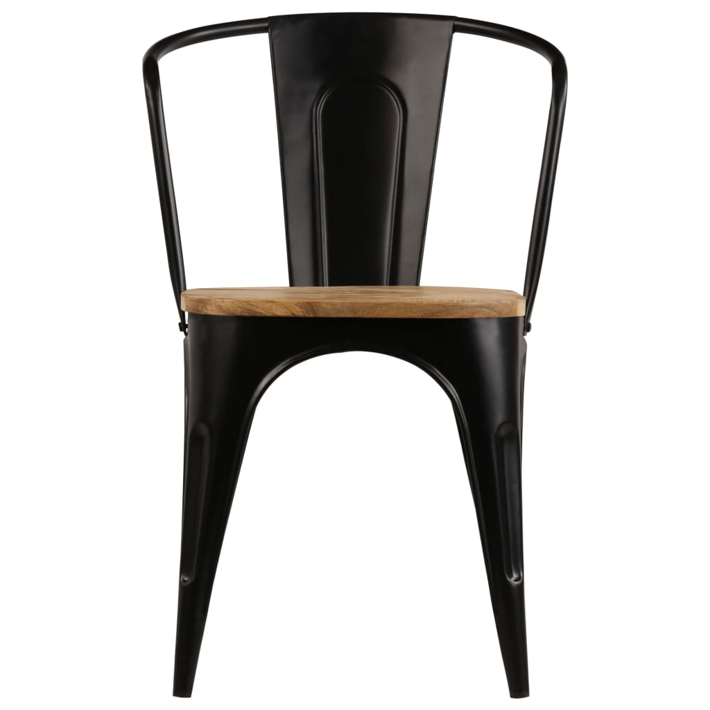 Dining Chairs 2 pcs Black Solid Mango Wood 4