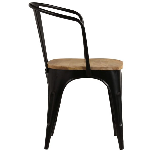 Dining Chairs 2 pcs Black Solid Mango Wood 5