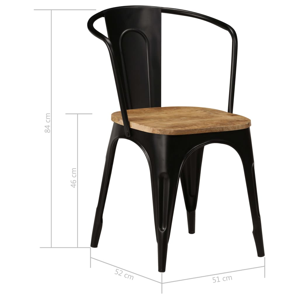 Dining Chairs 2 pcs Black Solid Mango Wood 9