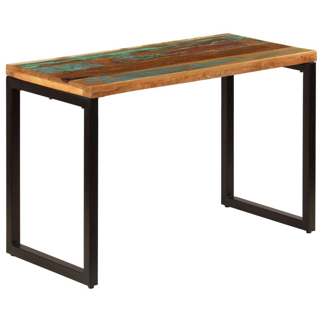 Dining Table 115x55x76 cm Solid Reclaimed Wood and Steel 1