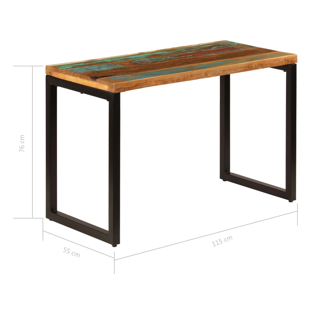 Dining Table 115x55x76 cm Solid Reclaimed Wood and Steel 9