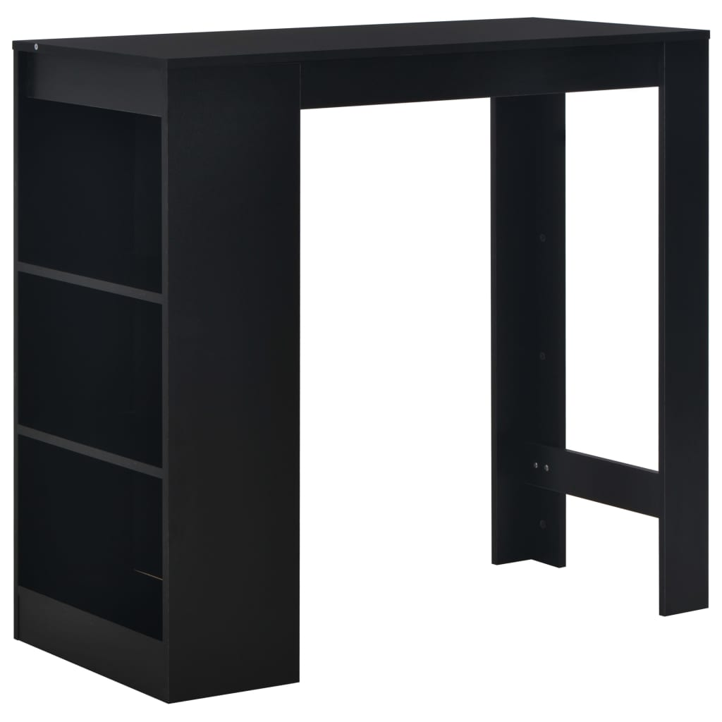 Bar Table with Shelf Black 110x50x103 cm