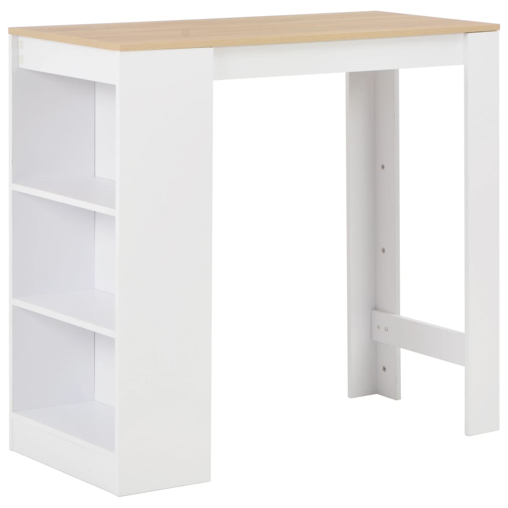 Bar Table with Shelf White 110x50x103 cm