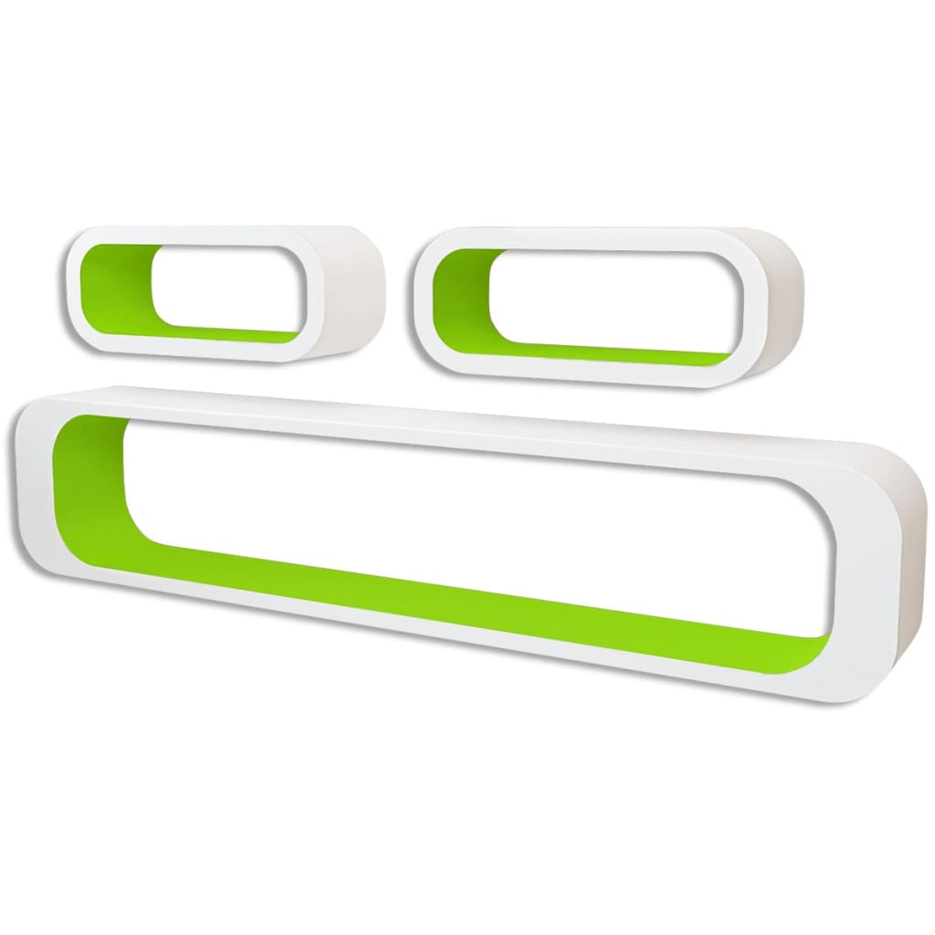 Wall Cube Shelves 6 pcs Green and White 2