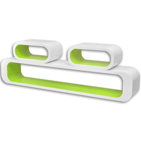 Wall Cube Shelves 6 pcs Green and White 3