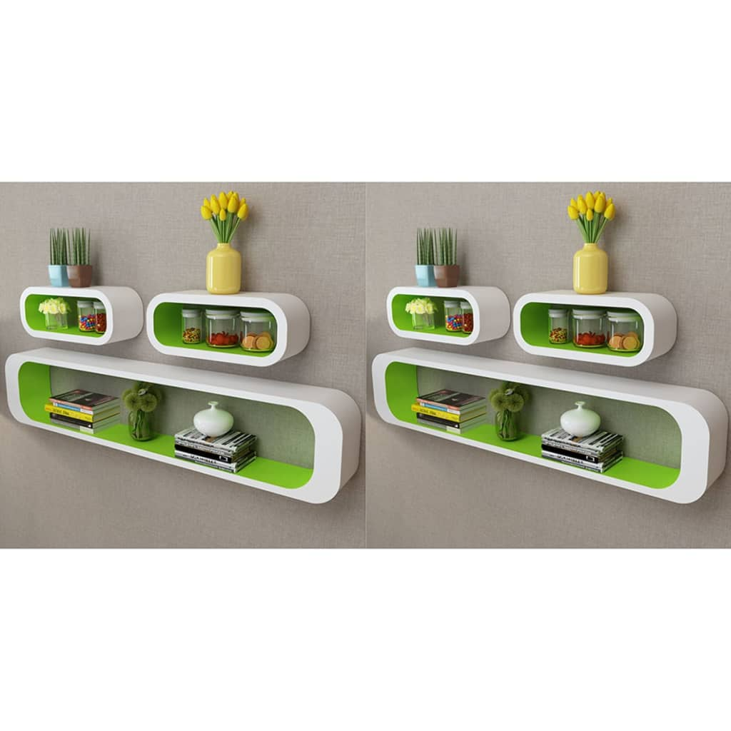 Wall Cube Shelves 6 pcs Green and White 1