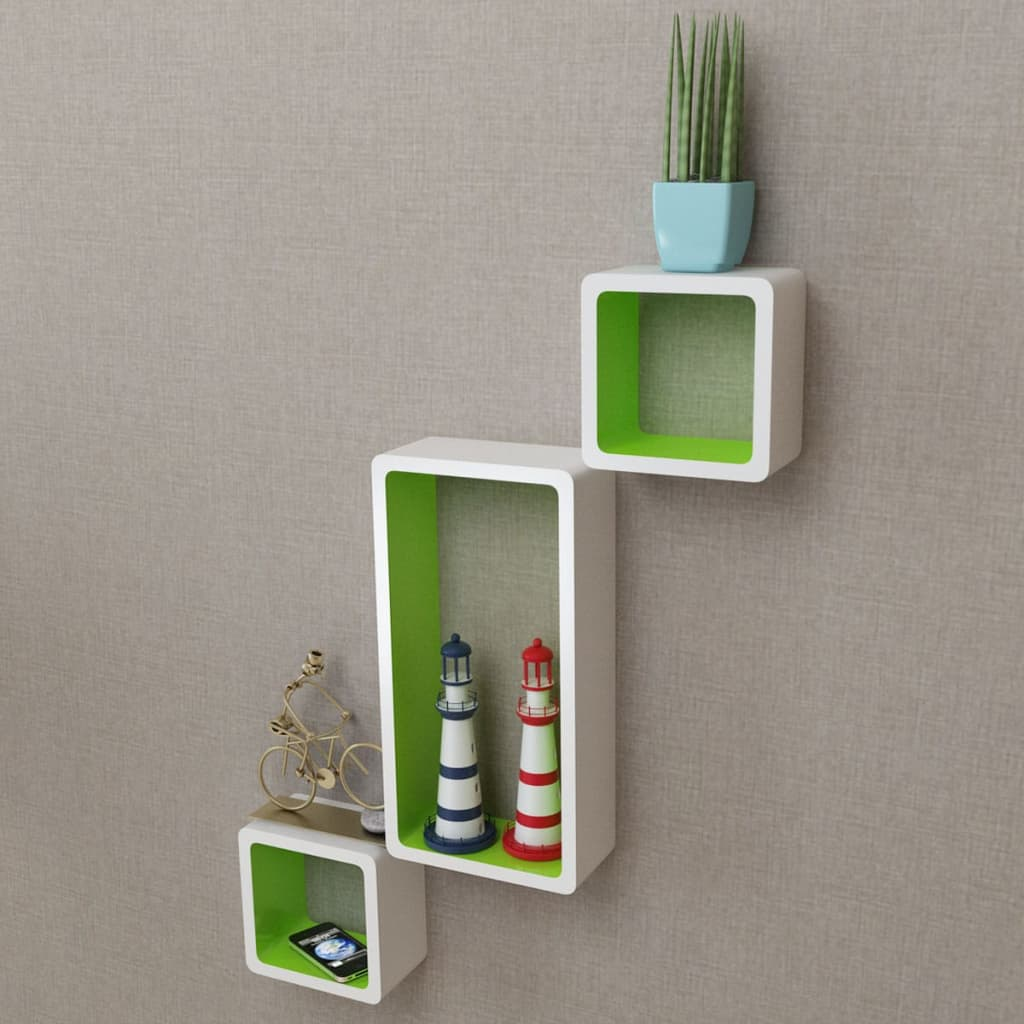 Wall Cube Shelves 6 pcs White and Green 2