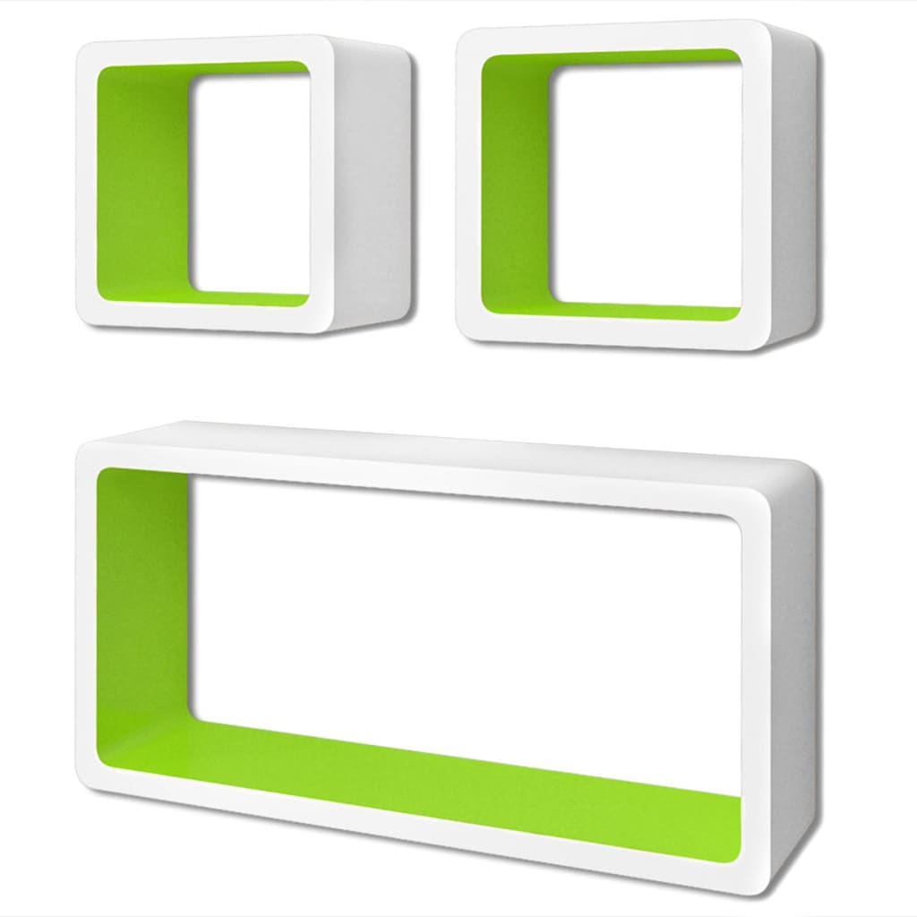 Wall Cube Shelves 6 pcs White and Green 3