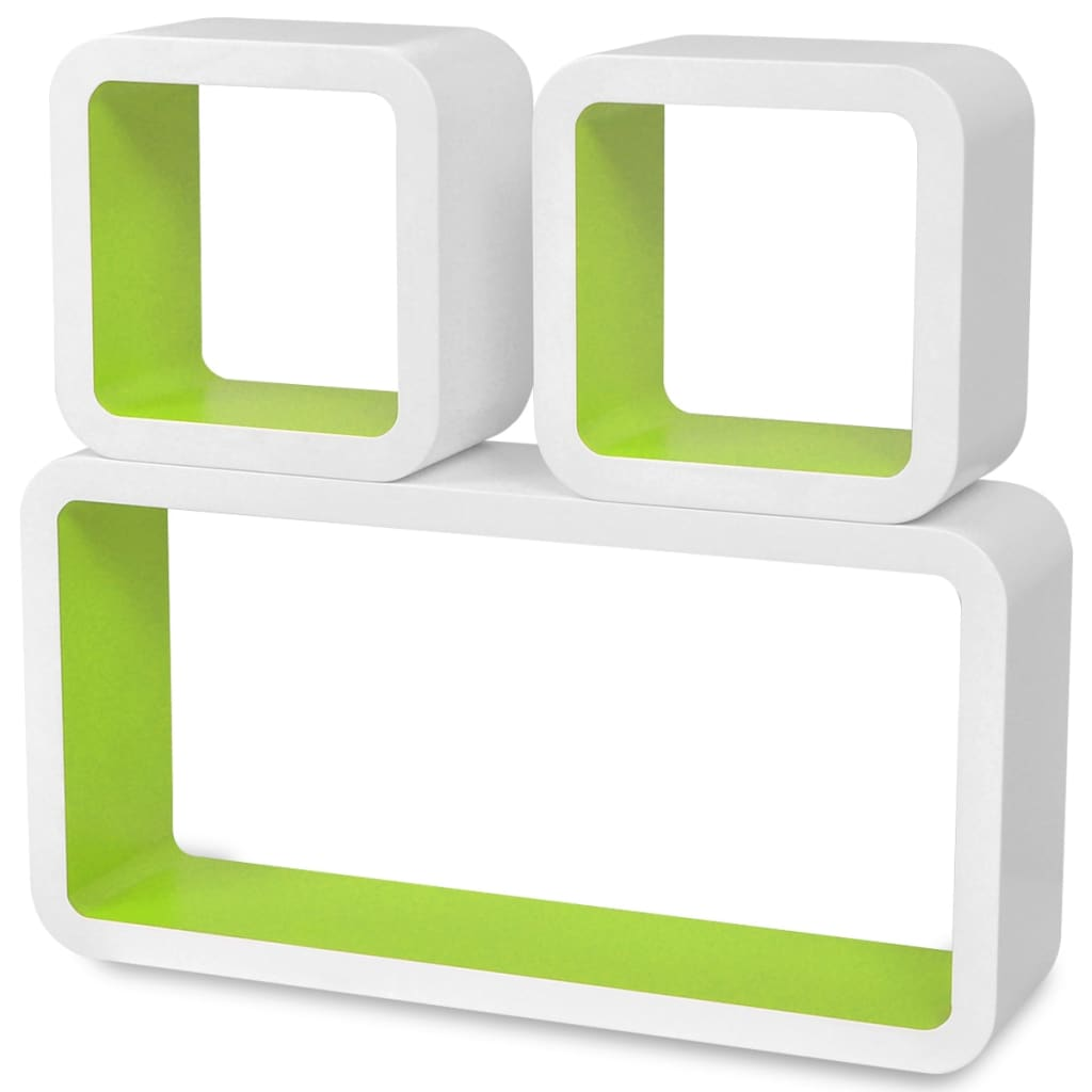 Wall Cube Shelves 6 pcs White and Green 4
