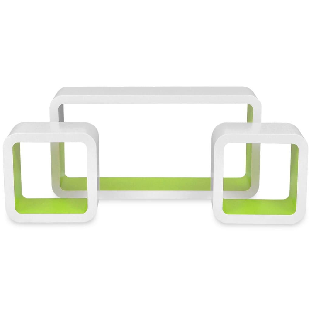 Wall Cube Shelves 6 pcs White and Green 5