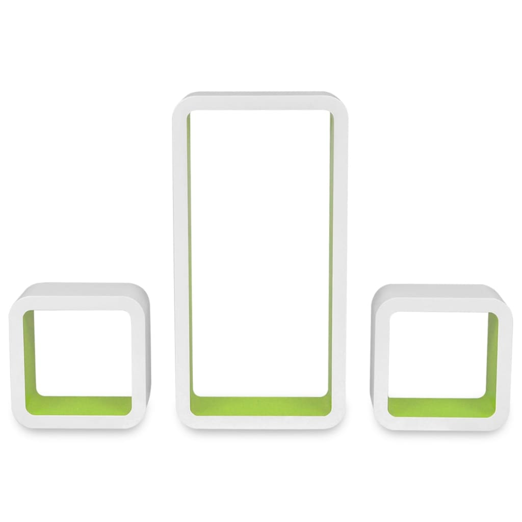 Wall Cube Shelves 6 pcs White and Green 6