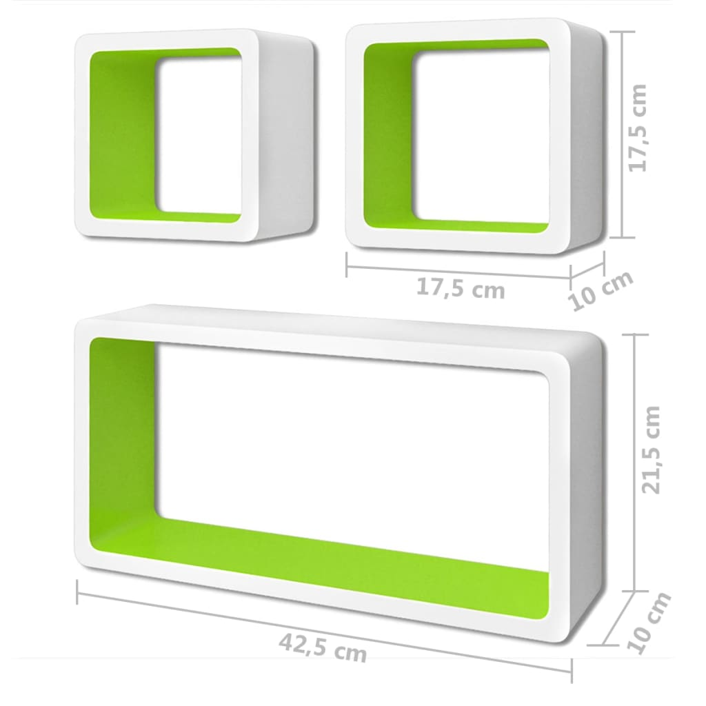 Wall Cube Shelves 6 pcs White and Green 7