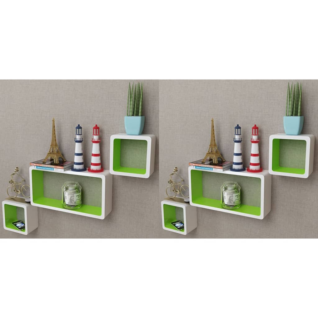Wall Cube Shelves 6 pcs White and Green 1