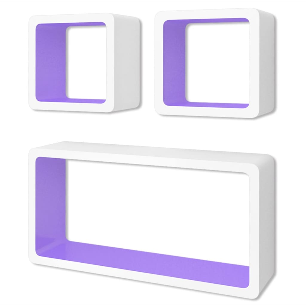 Wall Cube Shleves 6 pcs White and Purple 2