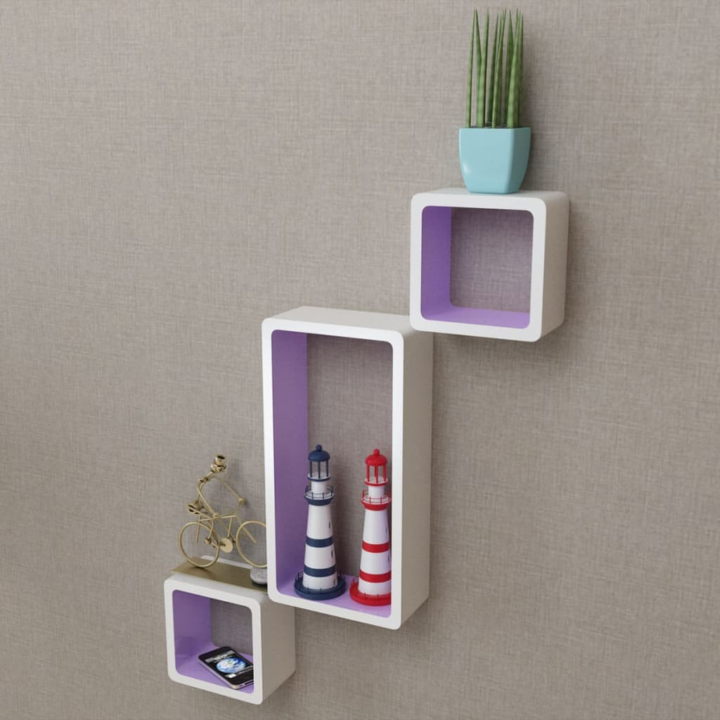 Wall Cube Shleves 6 pcs White and Purple 3