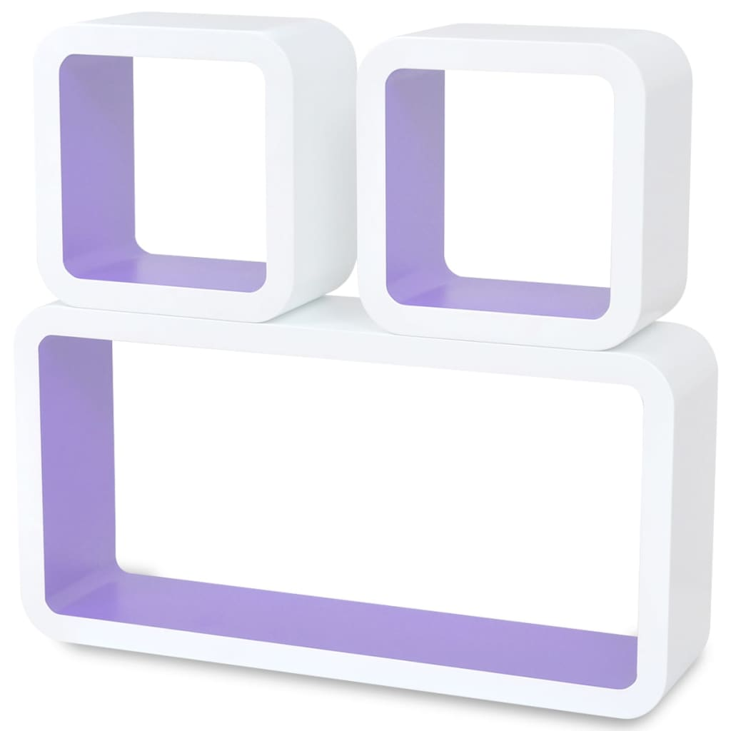 Wall Cube Shleves 6 pcs White and Purple 4
