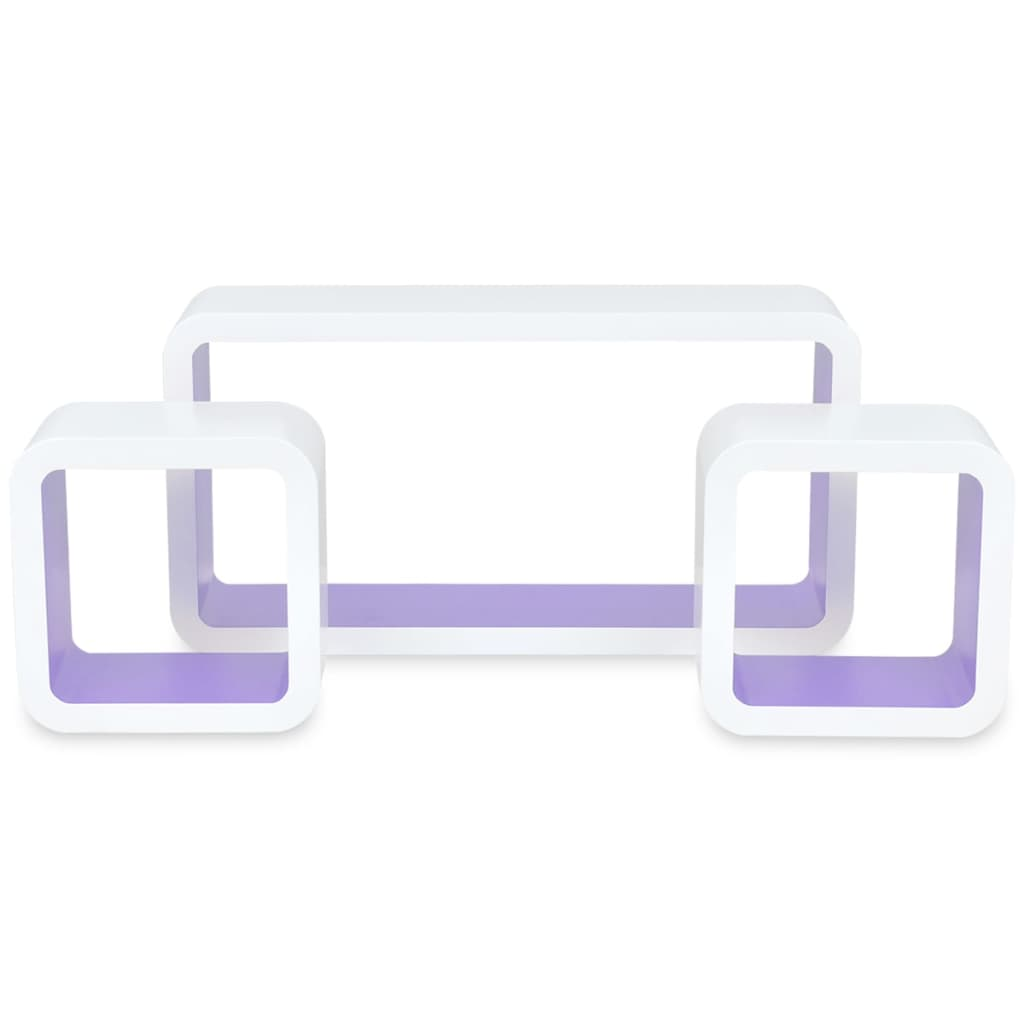 Wall Cube Shleves 6 pcs White and Purple 5