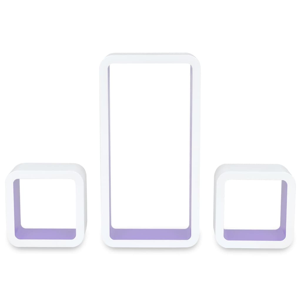 Wall Cube Shleves 6 pcs White and Purple 6