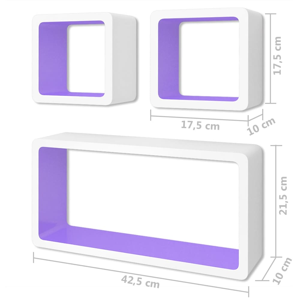 Wall Cube Shleves 6 pcs White and Purple 7