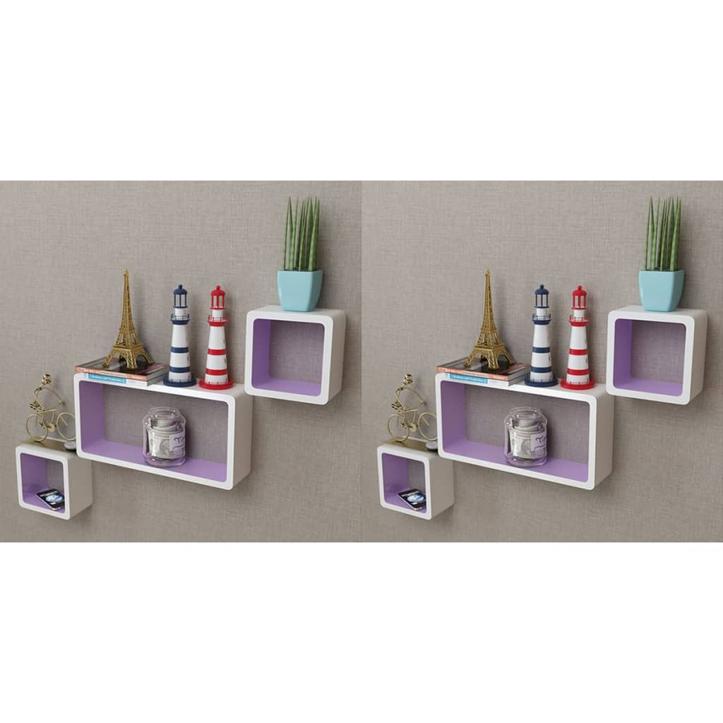 Wall Cube Shleves 6 pcs White and Purple 1